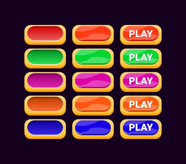 Conjunto de botón de gelatina de interfaz gráfica de usuario con borde dorado para elementos de activos de interfaz de usuario del juego