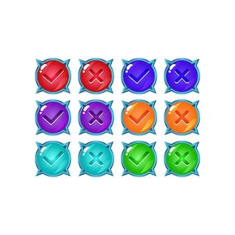Conjunto de botón de interfaz de usuario de juego de gelatina brillante sí y sin marcas de verificación