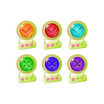 Conjunto de botón de interfaz de usuario de juego de gelatina de estrella divertido sí y sin marcas de verificación