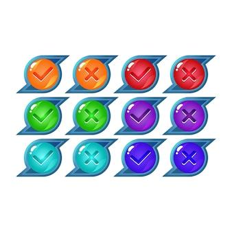Conjunto de botón de interfaz de usuario de juego de gelatina de fantasía sí y sin marcas de verificación