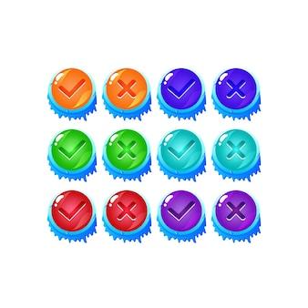 Conjunto de botón de interfaz de usuario de juego de gelatina de hielo de invierno sí y sin marcas de verificación