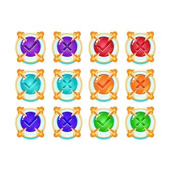 Conjunto de botón de interfaz de usuario de juego de gelatina medieval de hielo congelado sí y sin marcas de verificación