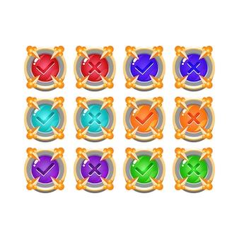Conjunto de botón de interfaz de usuario de juego de gelatina medieval de piedra de roca sí y sin marcas de verificación