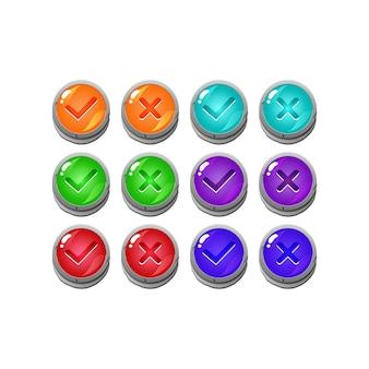 Conjunto de botón de interfaz de usuario de juego de gelatina de piedra de piedra sí y sin marcas de verificación