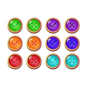Conjunto de botón de interfaz de usuario de juego de gelatina violeta divertido sí y sin marcas de verificación