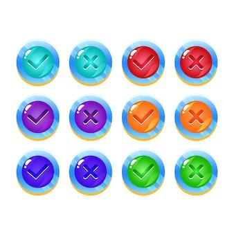 Conjunto de botón de interfaz de usuario de juego de jalea espacial de fantasía sí y sin marcas de verificación