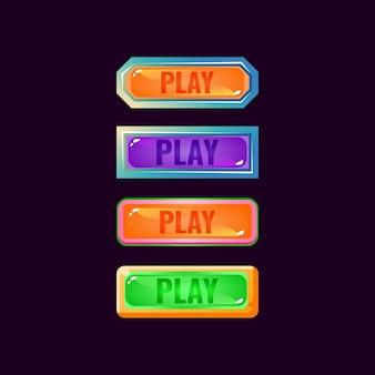 Conjunto de botón de reproducción colorido juego ui fantasía diamante y gelatina para elementos de activos de interfaz gráfica de usuario