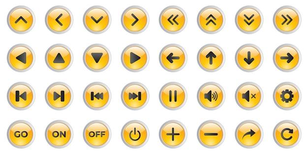 Conjunto de botones 3d para la interfaz de usuario del reproductor de música.