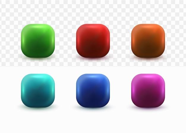 Conjunto de botones 3d para plantilla de icono de redes sociales sobre fondo blanco transparente