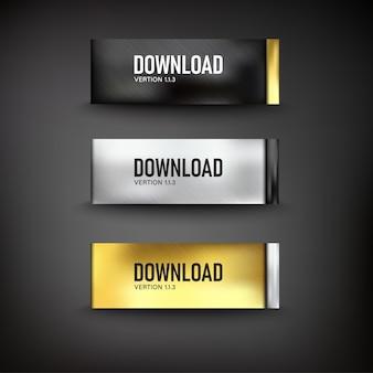 Conjunto de botones de acero de descarga web en color de fondo negro