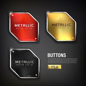 Conjunto de botones de acero web en color de fondo negro