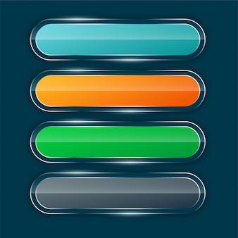Conjunto de botones anchos brillantes