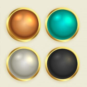 Conjunto de botones brillantes dorados premium