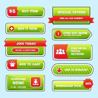 Conjunto de botones brillantes para juego o web.