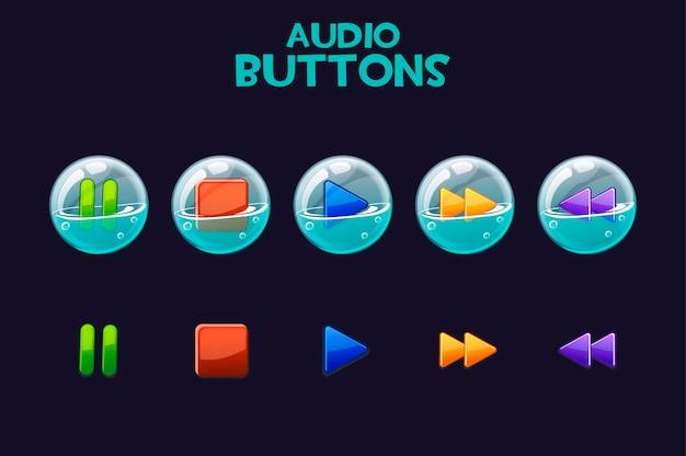 Un conjunto de botones brillantes en pompas de jabón para reproducir audio.