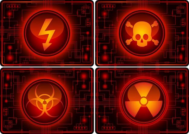 Conjunto de botones brillantes con símbolos de advertencia