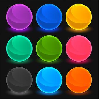 Conjunto de botones brillantes tonos toon