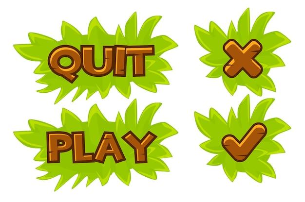 Conjunto de botones de césped, jugar y salir. iconos aislados marca de verificación y cruz para juegos.