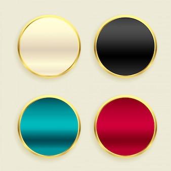 Conjunto de botones circulares dorados metálicos brillantes.