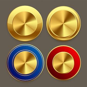 Conjunto de botones circulares de metal dorado premium.