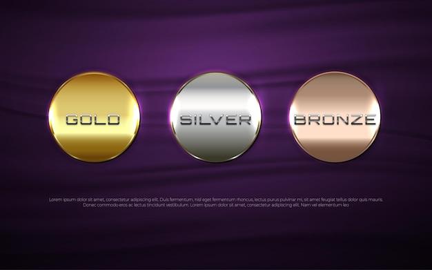 Conjunto de botones círculo moderno color oro plata y bronce