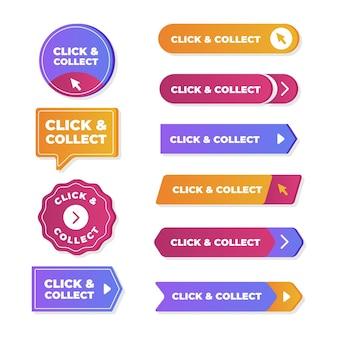 Conjunto de botones de clic y recopilación