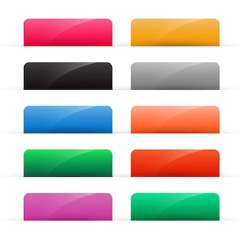 Conjunto de botones de colores brillantes web