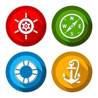 Conjunto de botones de colores planos de viaje.