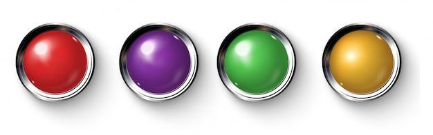 Conjunto de botones de colores realistas con bordes metálicos.