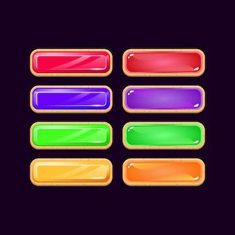 Conjunto de botones coloridos de diamantes y gelatina de madera de interfaz de usuario de juego para elementos de activos de interfaz gráfica de usuario