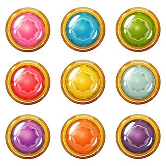 Conjunto de botones de cristal chapado en oro brillante