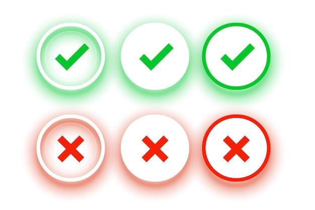 Conjunto de botones cruzados y marca de verificación circular