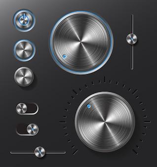 Conjunto de botones y diales de metal oscuro.