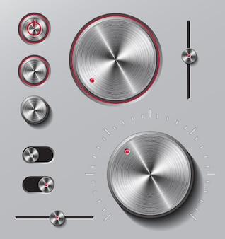 Conjunto de botones y diales metálicos brillantes.