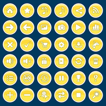 Conjunto de botones de dibujos animados juego amarillo brillante brillante estilo.