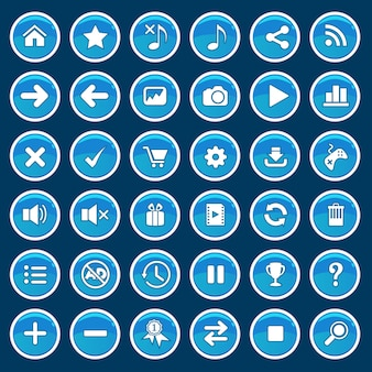 Conjunto de botones de dibujos animados de juego azul brillante brillante estilo.