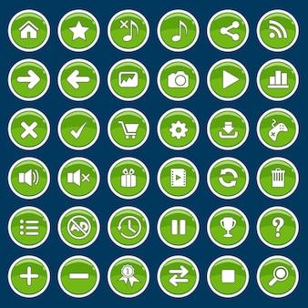 Conjunto de botones de dibujos animados juego verde brillante brillante estilo.