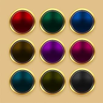Conjunto de botones dorados metalizados color.