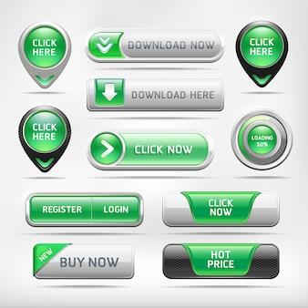 Conjunto de botones de elementos web brillante verde