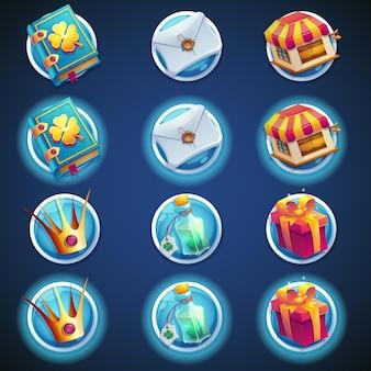 Conjunto de botones de iconos para videojuegos web