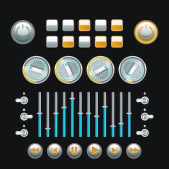 Conjunto de botones informáticos y técnica analógica coloreados