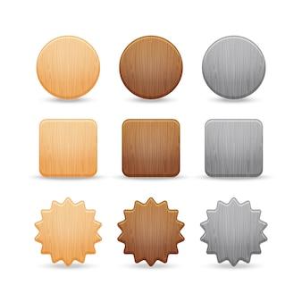 Conjunto de botones de madera.