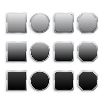 Conjunto de botones de marco de metal negro y gris.