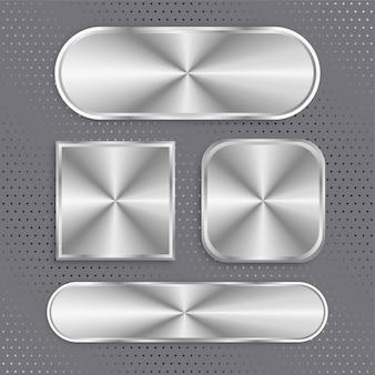Conjunto de botones metálicos con superficie cepillada.