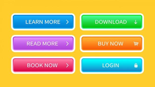 Conjunto de botones de moda para el diseño de sitios web.