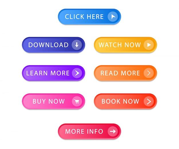 Conjunto de botones modernos para sitio web y ui. colección de botones de degradado.