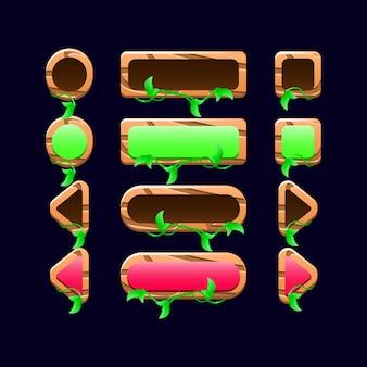 Conjunto de botones de naturaleza de madera de la interfaz de usuario del juego para elementos de activos de interfaz gráfica de usuario