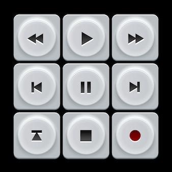 Conjunto de botones de navegación de jugador de vector de plástico blanco