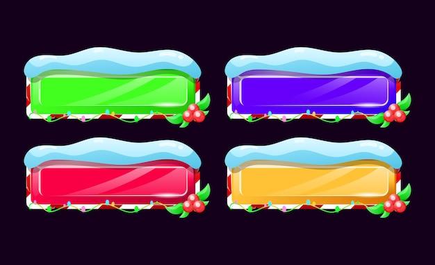 Conjunto de botones navideños de interfaz gráfica de usuario en varios colores para elementos de activos de interfaz de usuario del juego