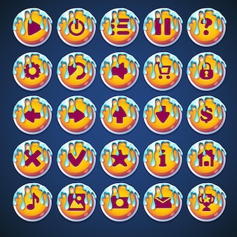 Conjunto de botones con rayas caramelo